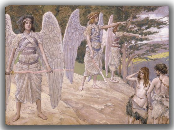 Tissot, James Jacques Joseph: Adam and Eve Driven from Paradise. Fine Art Canvas. Sizes: A4/A3/A2/A1 (004139)